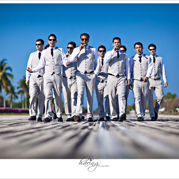 Ocean Reef Club, Key Largo - Groom and Groomsmen on the Taxiway at the Airport