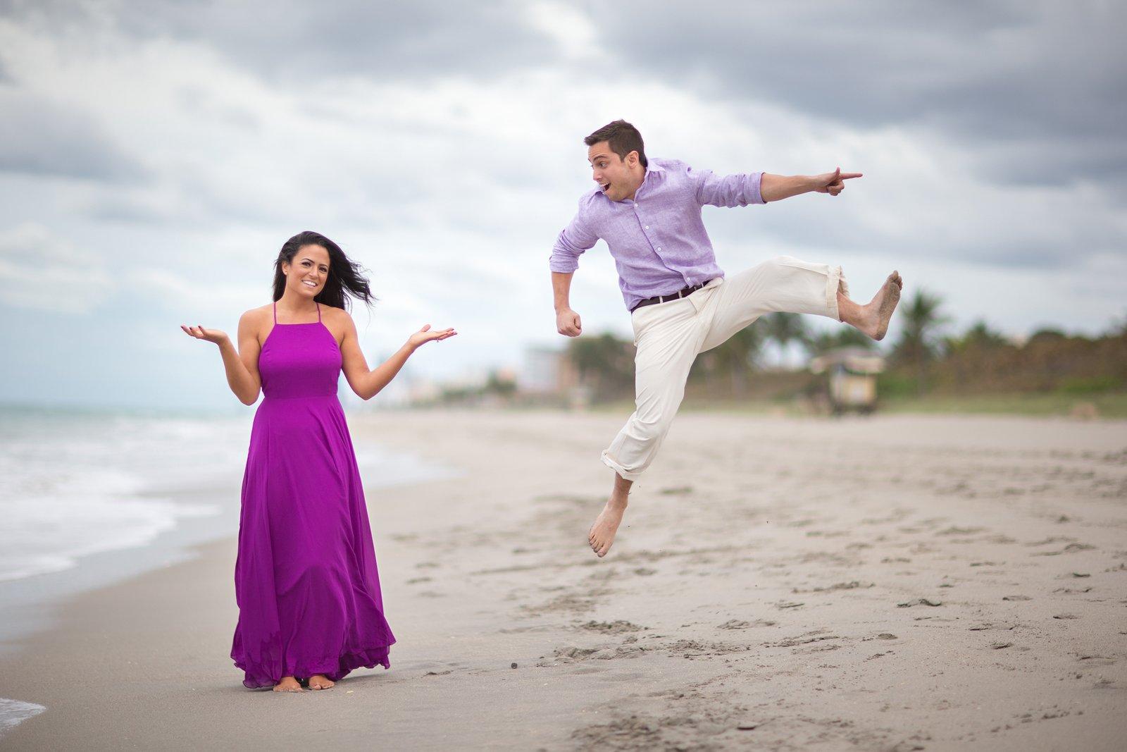 fun miami beach engagement photos