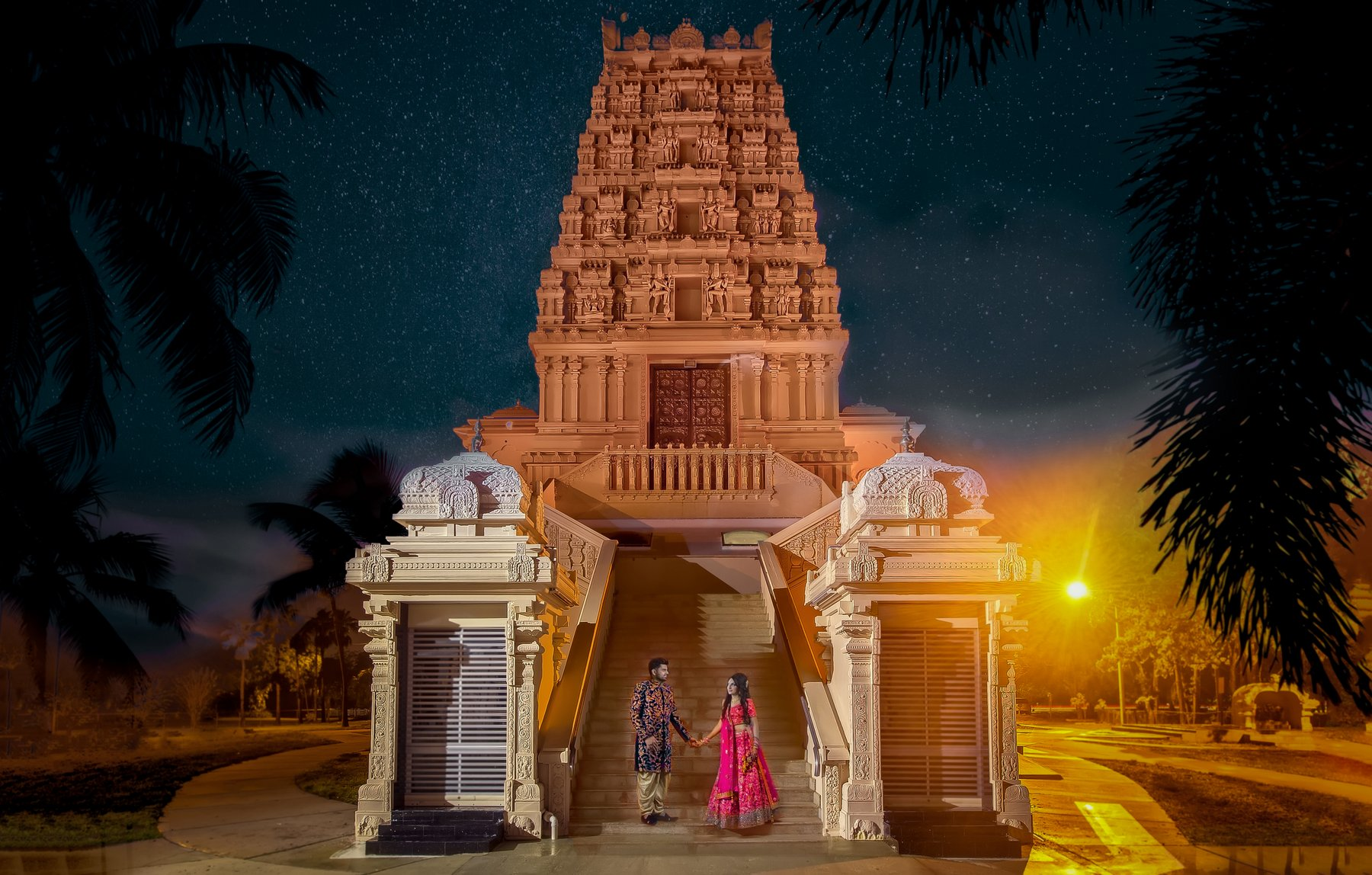 The Hindu Temple of Florida at Night | Tampa, FL, Miami Wedding Photographers | Häring Photography, Indian Wedding Photographer in Florida, Best Muslim, Hindu - South East Asian Wedding Photographers